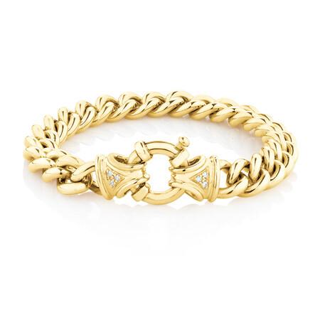Diamond Set Curb Bracelet in 10ct Yellow Gold