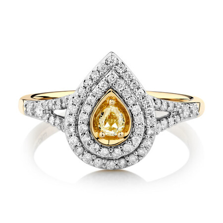 Ring with 1/2 Carat TW of Natural Yellow & White Diamonds in 14ct Yellow Gold