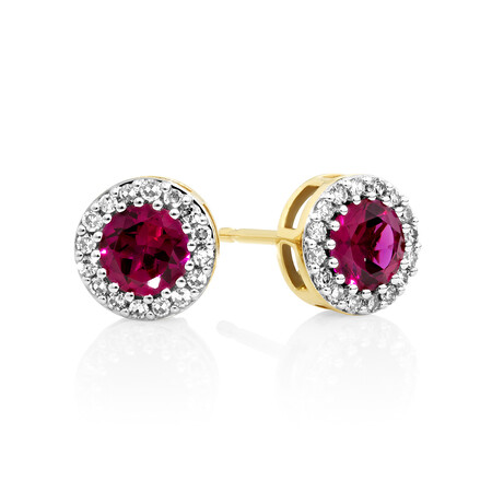 Halo Earrings with Created Ruby & 0.18 Carat TW of Diamonds in 10ct Yellow gold