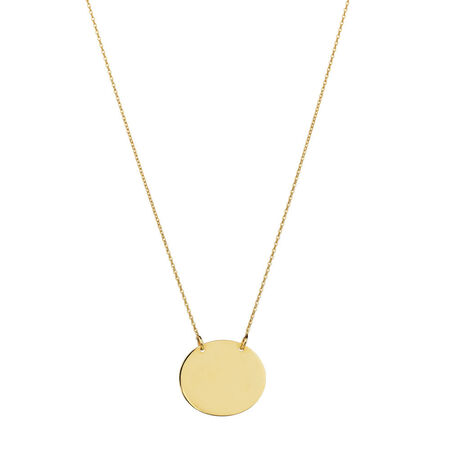 Oval Disc Necklace in 10ct Yellow Gold