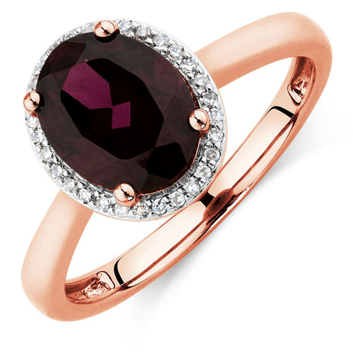 Ring with Rhodolite Garnet & Diamonds in 10ct Rose Gold