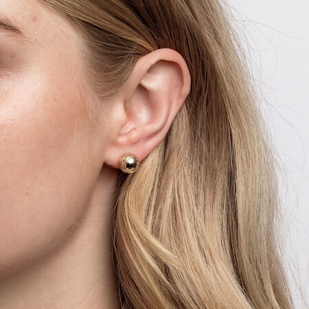 Patterned Ball Stud Earrings in 10ct Yellow Gold