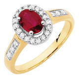 Ring with Ruby & 1/4 Carat TW of Diamonds in 10ct Yellow Gold