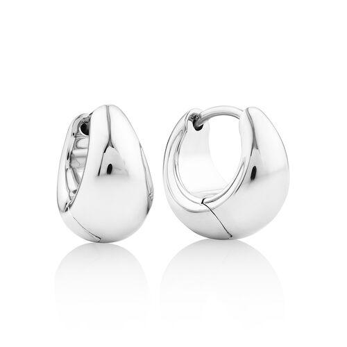 Sculpture Dome Huggie Earrings in Sterling Silver