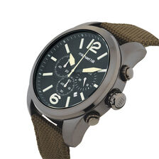 Men's Chronograph Watch in Resin & Leather & Black PVD Plated Stainless Steel