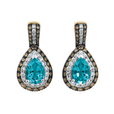 Double Halo Earrings with 0.75 Carat TW Diamonds & Topaz in 14ct Yellow & White Gold