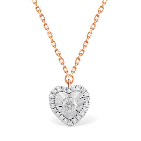 Heart Necklace With 0.12 Carat TW Of Diamonds In 10ct Rose Gold