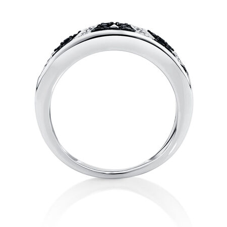 Online Exclusive - Ring with 0.68 Carat TW of White &  Enhanced Black Diamonds in Sterling Silver