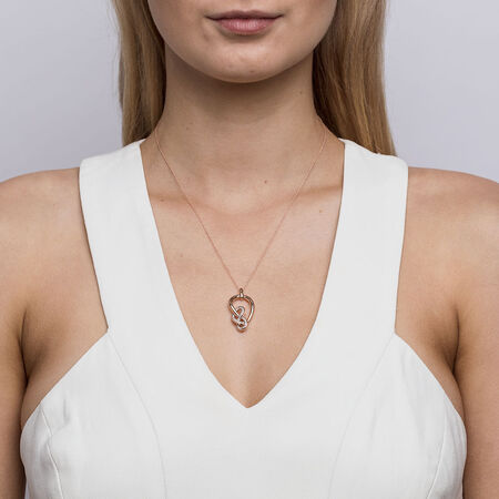 Medium Knots Pendant With 0.19 Carat TW Of Diamonds In 10ct Rose Gold