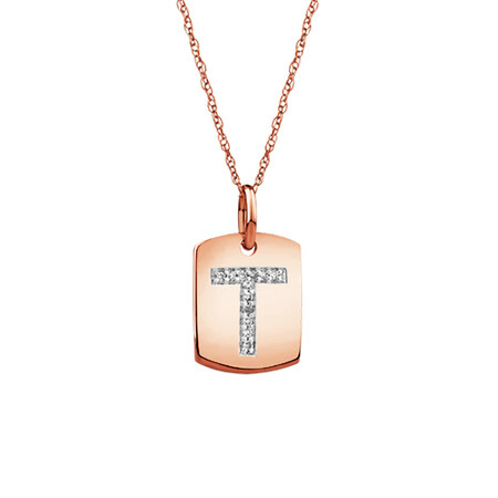 """T"" Initial Rectangular Pendant With Diamonds In 10ct Rose Gold"