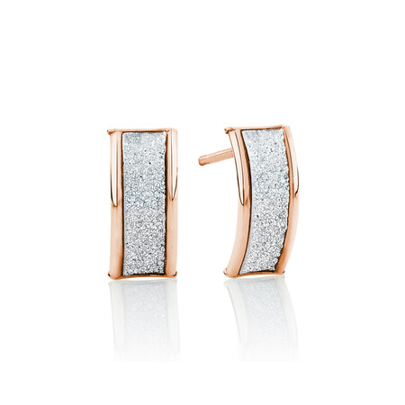 Glitter Stud Earrings in 10ct Rose Gold
