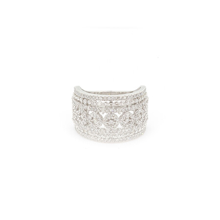 Wide Ring with 1 Carat TW of Diamonds in 10ct White Gold