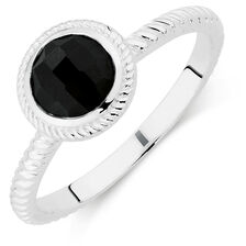 Patterned Black Cubic Zirconia Stack Ring