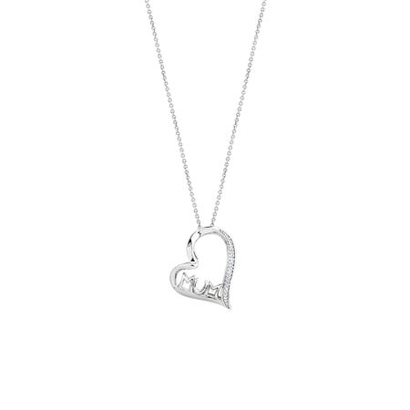 Mum Heart Pendant with Diamonds in Sterling Silver