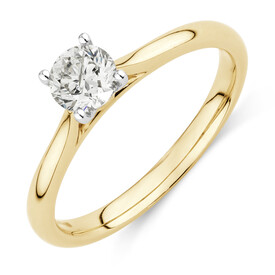Evermore Certified Solitaire Engagement Ring with 0.50 Carat TW Diamond in 14ct Yellow & White Gold