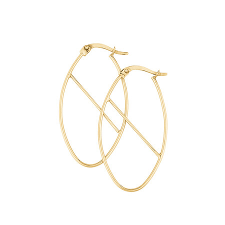 Oval Hoop Earrings with Bar in 10ct Yellow Gold