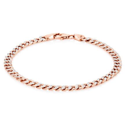 "19cm (7.5"") Curb Bracelet in 10ct White & Rose Gold"