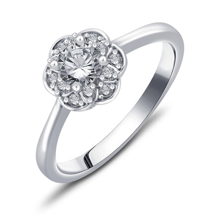 Flower Ring with 1/2 Carat TW of Diamonds in 10ct White Gold