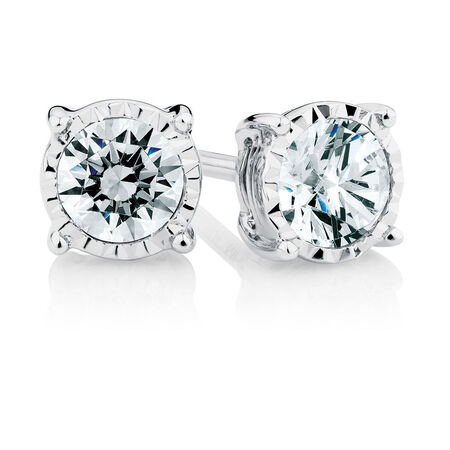 Stud Earrings with 3/4 Carat TW of Diamonds in 10ct White Gold