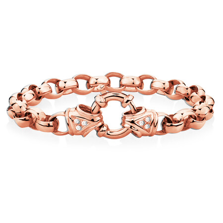 "23cm (9.5"") Diamond Set Bracelet in 10ct Rose Gold"
