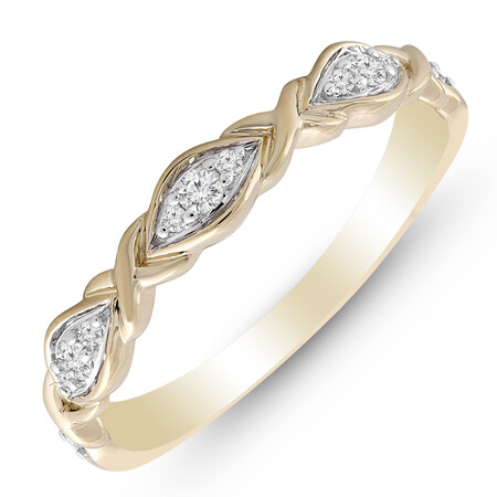 Ring with 0.10 Carat TW of Diamonds in 10ct Yellow Gold