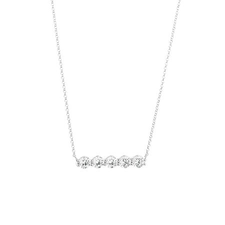 Bar Pendant Necklace with Cubic Zirconia in Sterling Silver