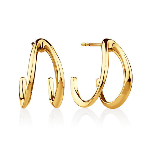 Medium Mark Hill Huggie Earrings in 10ct Yellow Gold