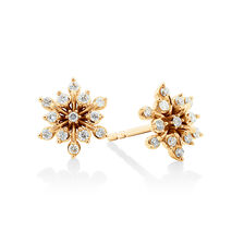 Flower Stud Earrings with 0.20 Carat TW of Diamonds in 10ct Yellow Gold