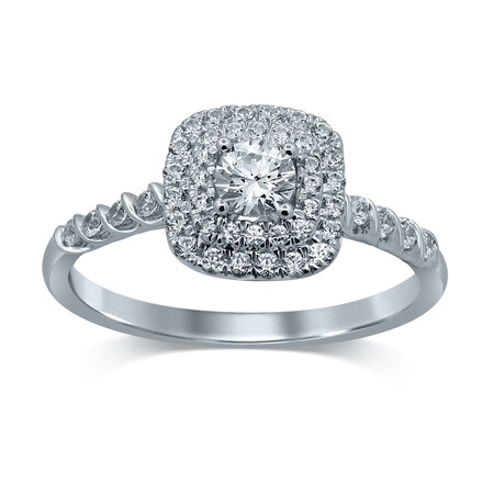 Twist Ring with 0.56 Carat TW of Diamonds in 14ct White Gold