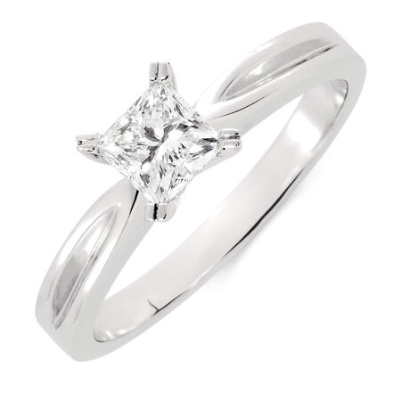 Solitaire Engagement Ring with a 1/2 Carat Diamond in 18ct White Gold