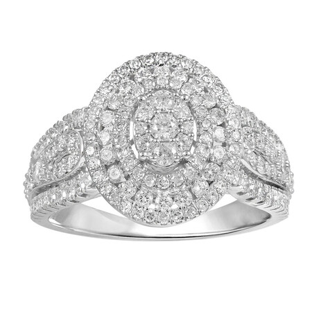 Oval Ring with 1.00 Carat TW of Diamonds in 10ct White Gold
