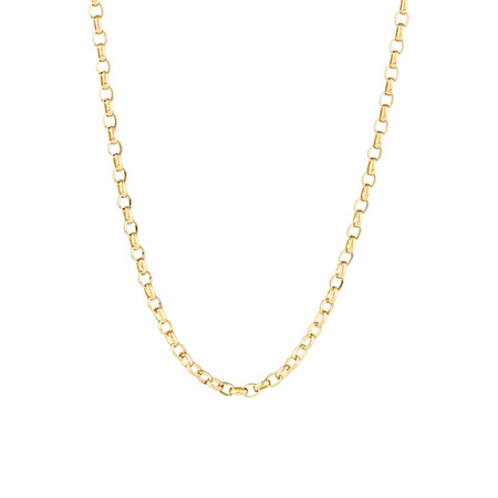 """70cm (28"""") Oval Belcher Chain in 10ct Yellow Gold"""