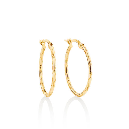 Oval Hoop Earrings in 10ct Yellow Gold