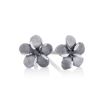 Flower Stud Earrings in 10ct White Gold
