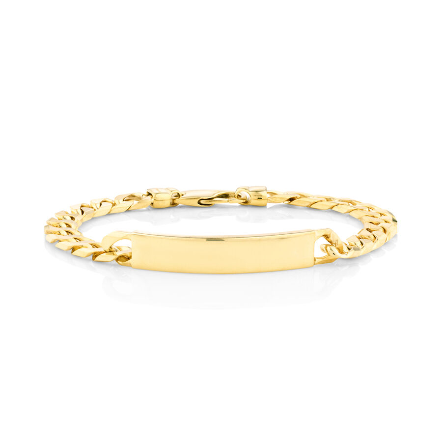 "23cm (9.5"") Flat Curb ID Bracelet In 10ct Yellow Gold"