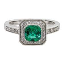 Online Exclusive - Ring with 0.15 Carat TW of Diamonds & Created Emerald in 10ct White Gold