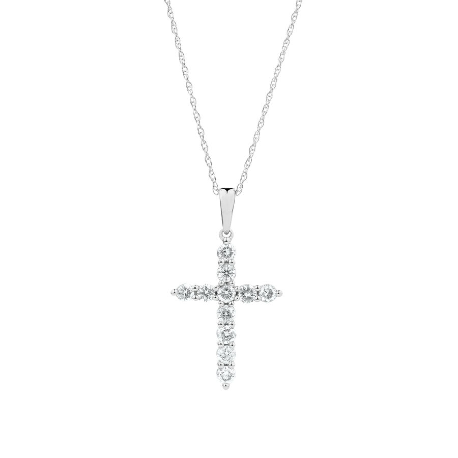 Cross Pendant with 0.50 Carat TW of Diamonds in 10ct White Gold