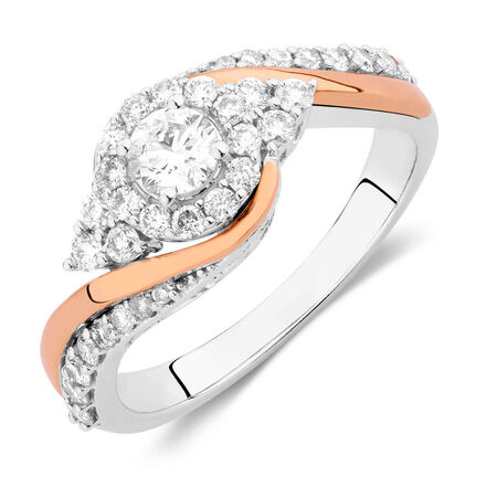 Engagement Ring with 3/4 Carat TW of Diamonds in 14ct White & Rose Gold