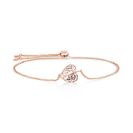 Heart Leaf Slider Bracelet in 10ct Rose Gold