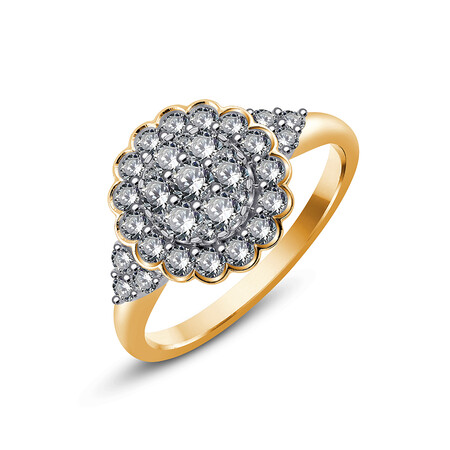 Ring with 0.93 Carat TW of Diamonds in 10ct Yellow Gold