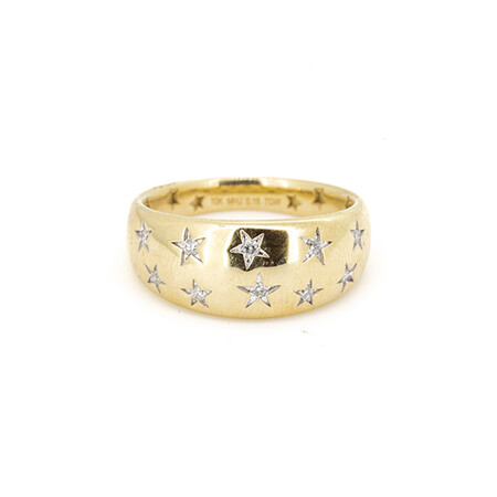 Star Ring with 0.15 Carat TW of Diamonds in 10ct Yellow Gold