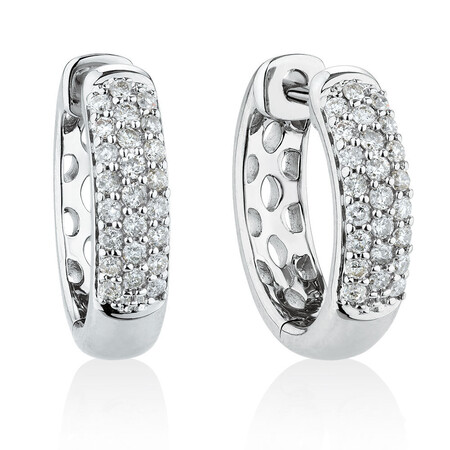 Huggie Earrings With 1/4 Carat TW Of Diamonds In 10ct White Gold