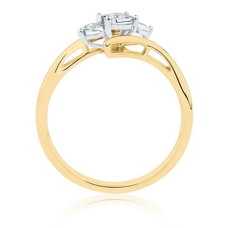 Three Stone Engagement Ring with 0.15 Carat TW of Diamonds in 10ct Yellow & White Gold