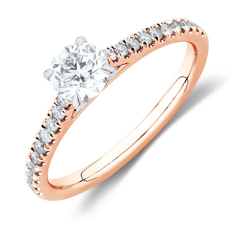 Solitaire Engagement Ring with 0.78 Carat TW of Diamonds in 14ct Rose & White Gold