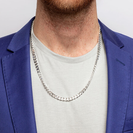 "60cm (24"") Men's Curb Chain in Sterling Silver"
