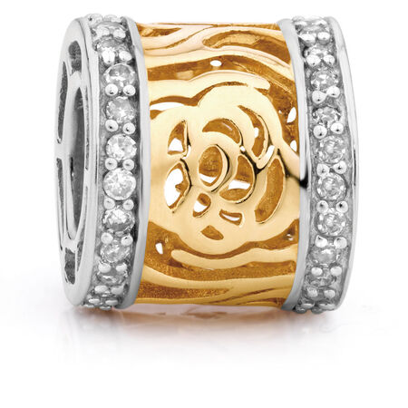 Diamond Set & 10ct Yellow & White Gold Charm
