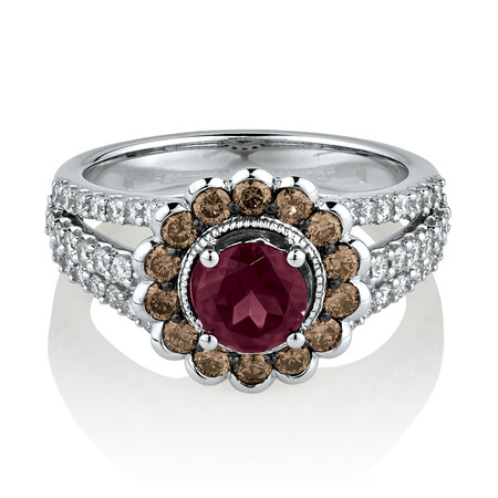 Ring with Garnet & 1 Carat TW of White & Brown Diamonds in 14ct White Gold