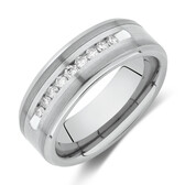 Ring with 0.25 Carat TW Diamond in Grey Tungsten