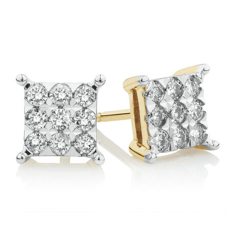 Square Stud Earrings with 1/2 Carat TW of Diamonds in 10ct Yellow Gold
