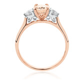 Ring with Morganite & 0.40 Carat TW of Diamonds in 10ct Rose Gold